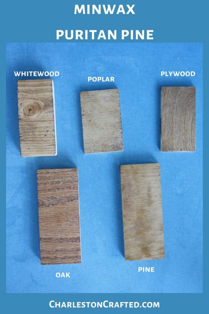 minwax puritan pine wood stain on white wood, poplar, pine, oak, plywood