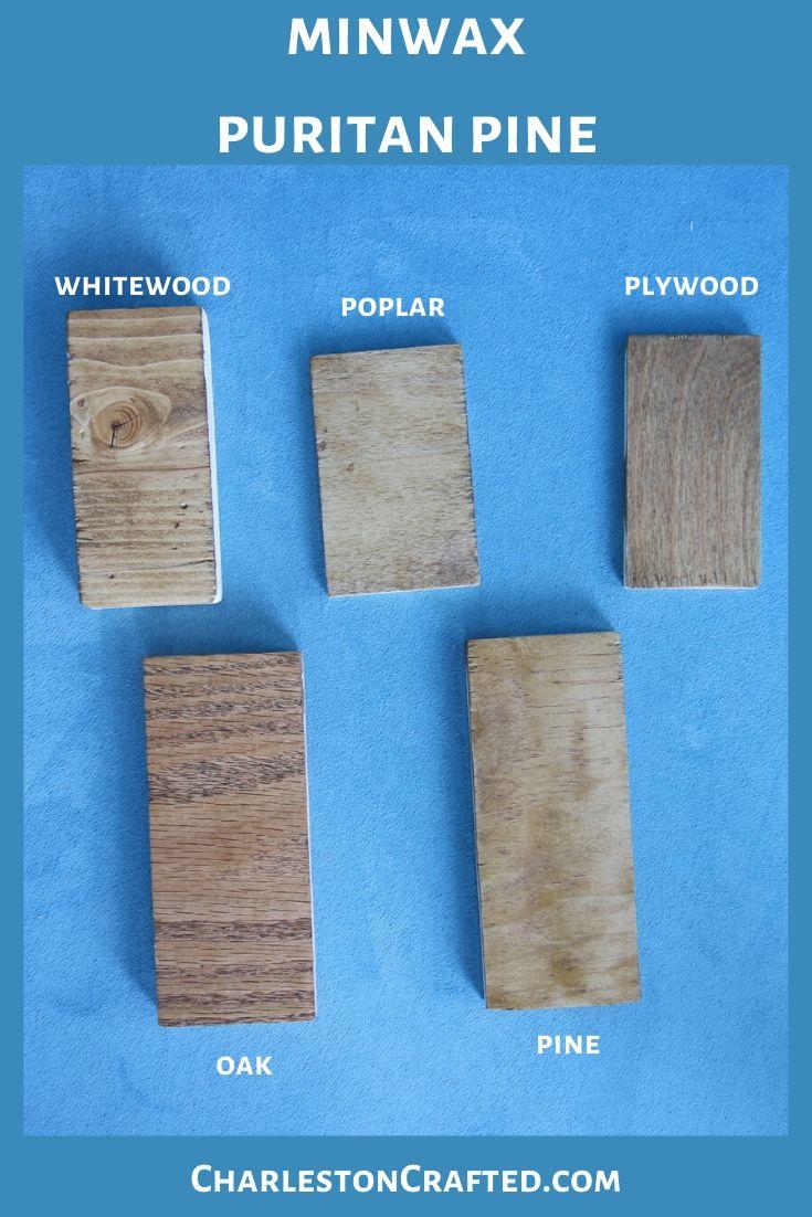 minwax puritan pine wood stain on white wood, poplar, pine, oak, plywood