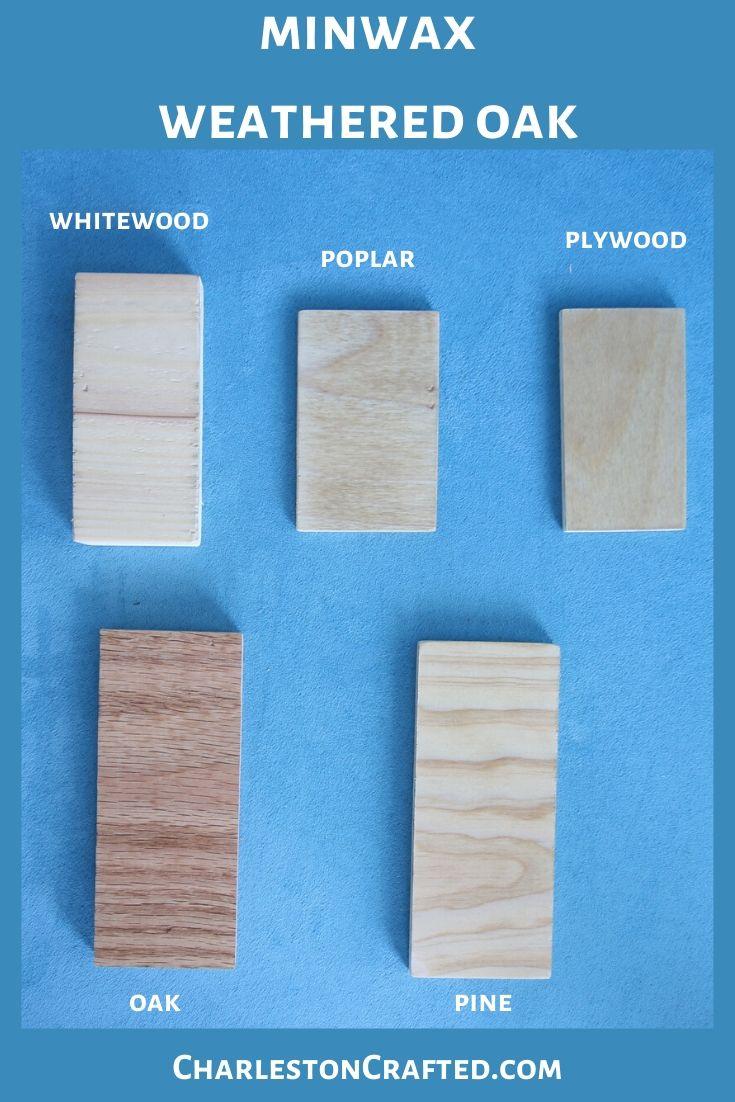 minwax weathered oak wood stain on white wood, poplar, pine, oak, plywood