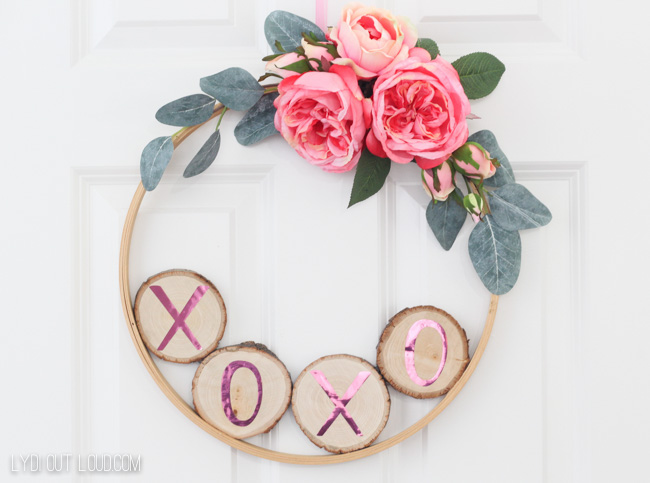 DIY Valentine's Day Hoop Wreath with Wood Slices