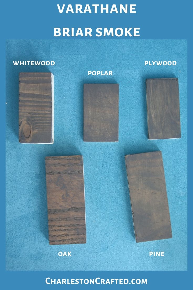 varathane briar smoke minwax wood stain on white wood, poplar, pine, oak, plywood