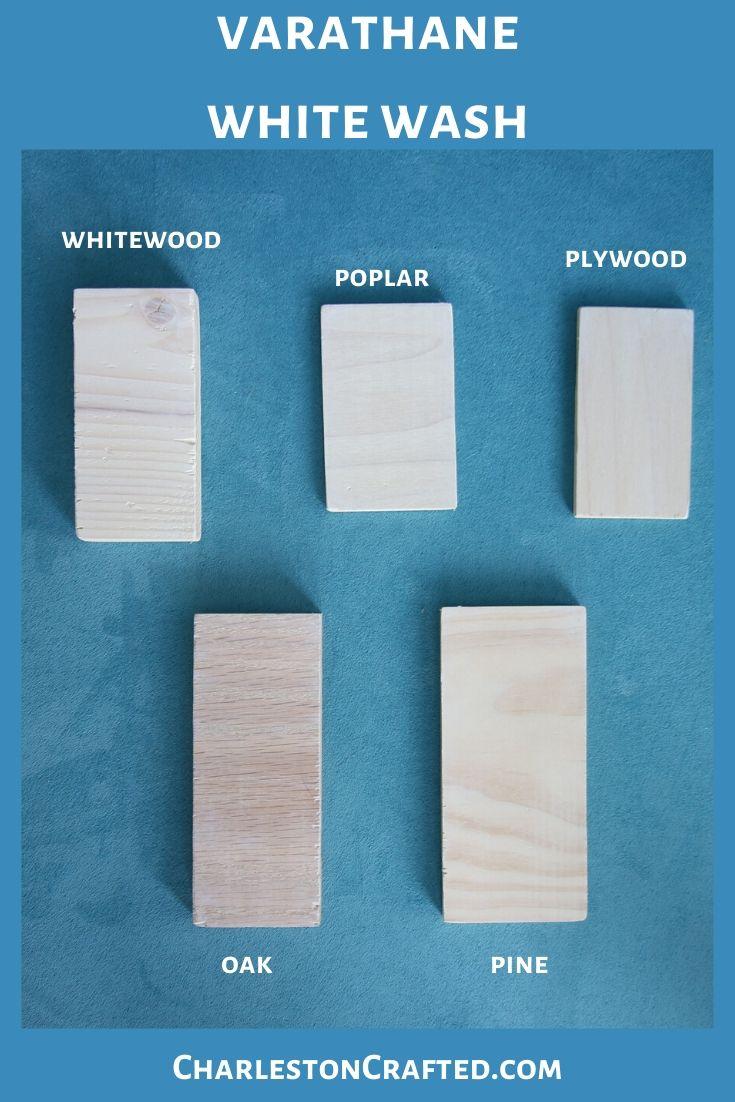 varathane white wash wood stain on white wood, poplar, pine, oak, plywood