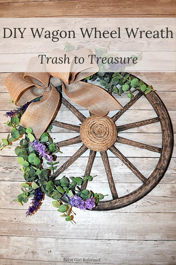 Trash to Treasure Wagon Wheel Wreath