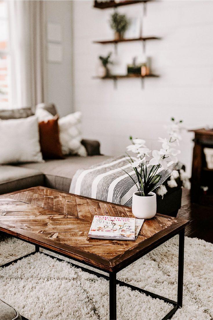 $30 DIY Herringbone Coffee Tabletop