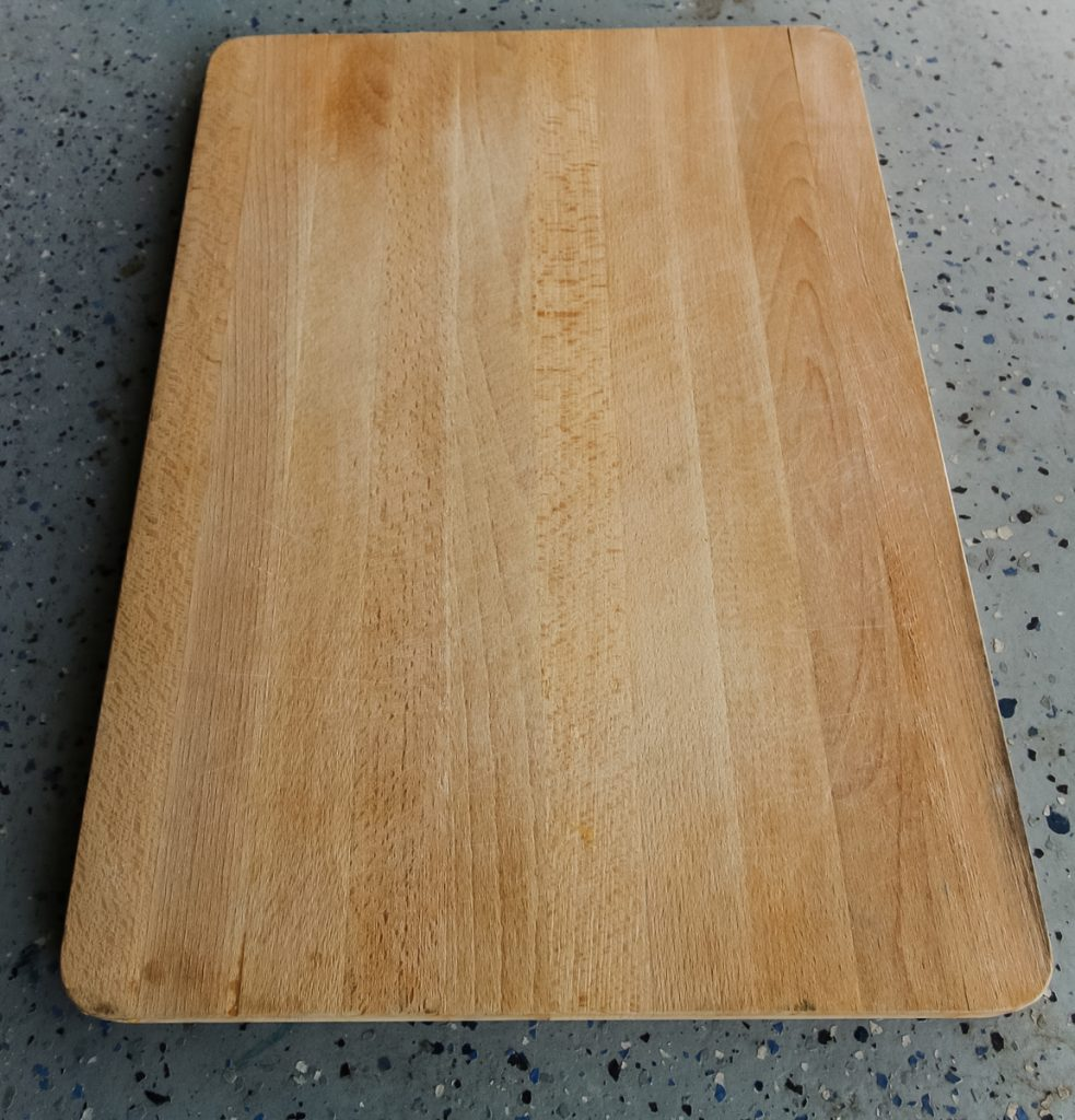 butcherblock cutting board from the thrift store before