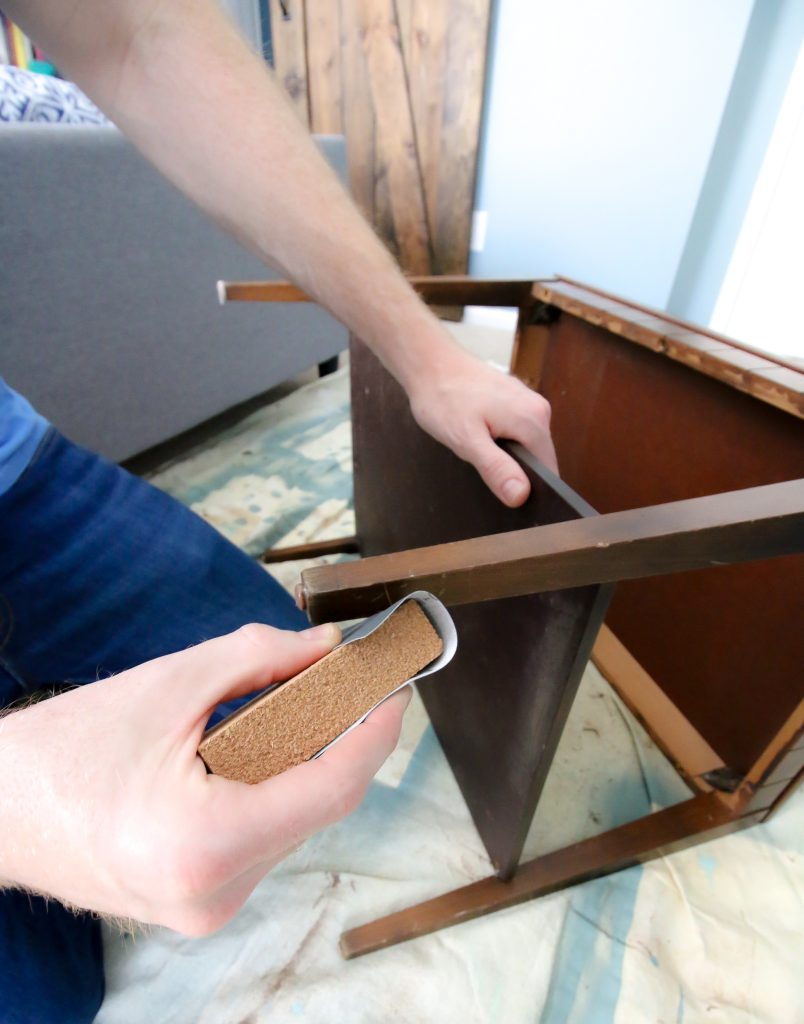 Sanding furniture with Mohawk buff and polish kit