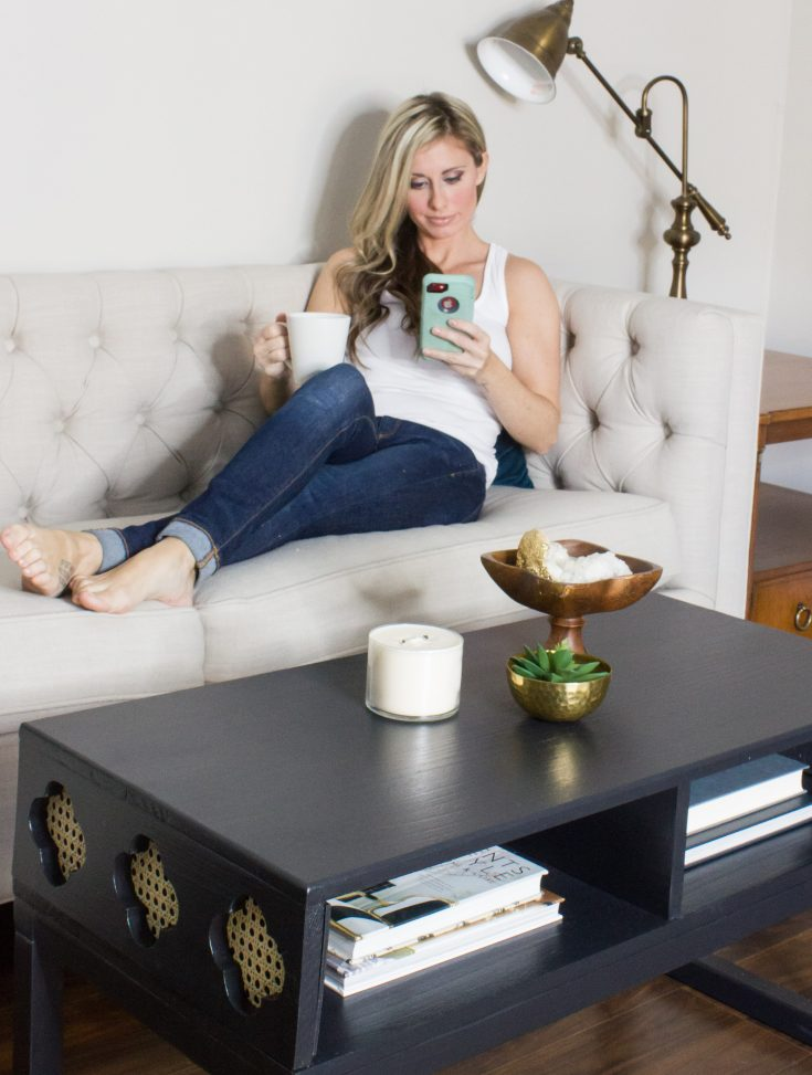 DIY Coffee Table with Cane Clover Shaped Cut-Outs