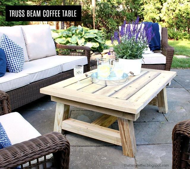 DIY Truss Beam Coffee Table Free Plans - Jaime Costiglio