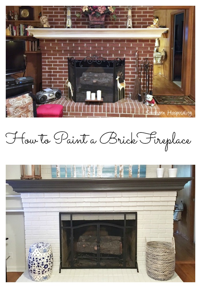 How to Paint a Brick Fireplace: 1950's House Update