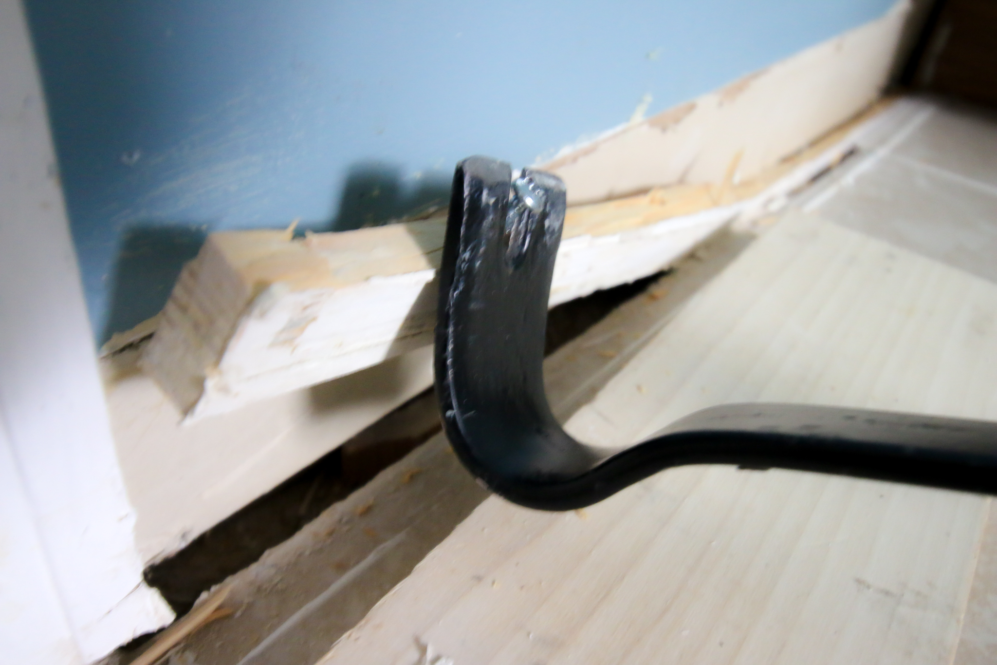 Prying baseboard out