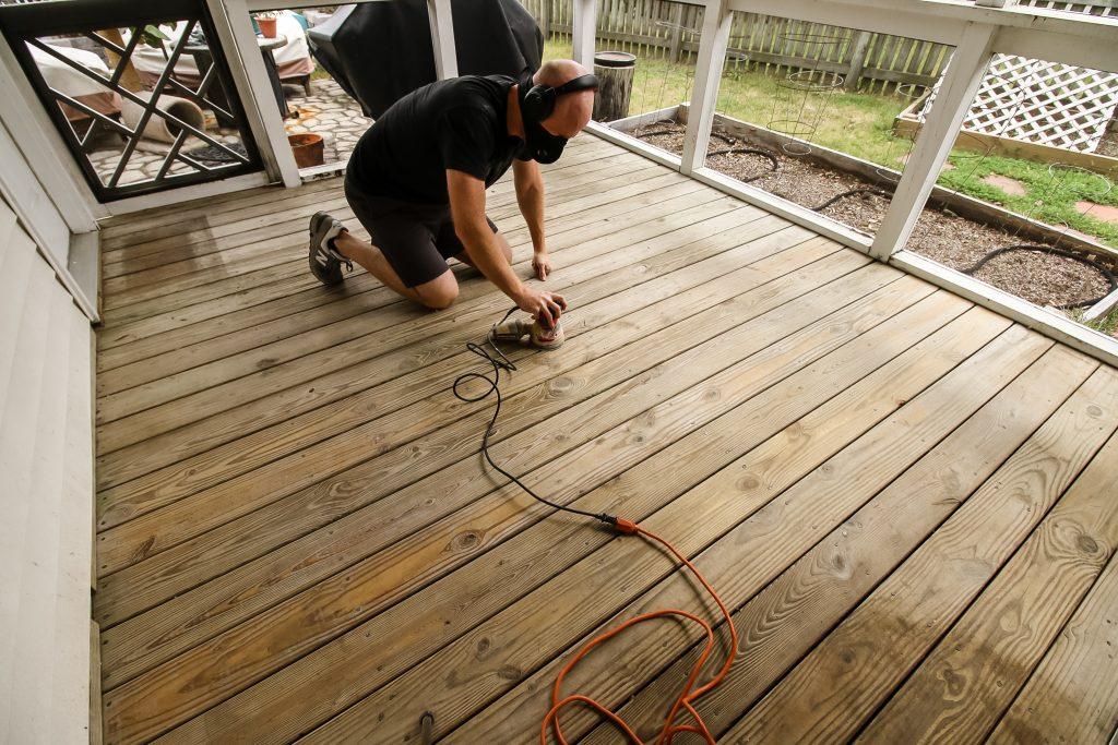 Sanding deck before spraying