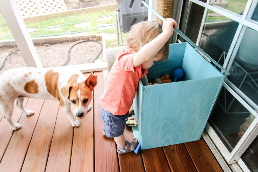 Getting toys from bin