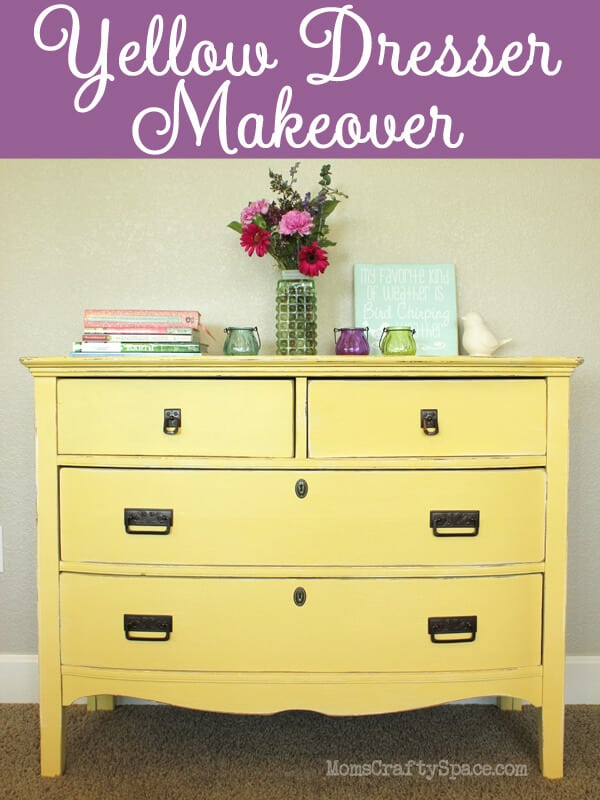 Yellow Painted Vintage Dresser Makeover