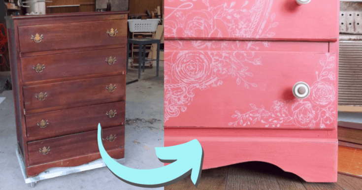 Girls dresser makeover in Coral Paints and a Delicate Image Transfer