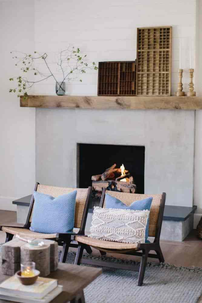 Brick Fireplace Makeover using Cement & Wood Mantle