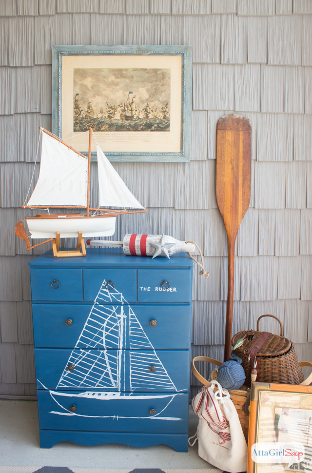 Handpainted Maritime Blueprint Dresser Inspired by Vintage Nautical Decor