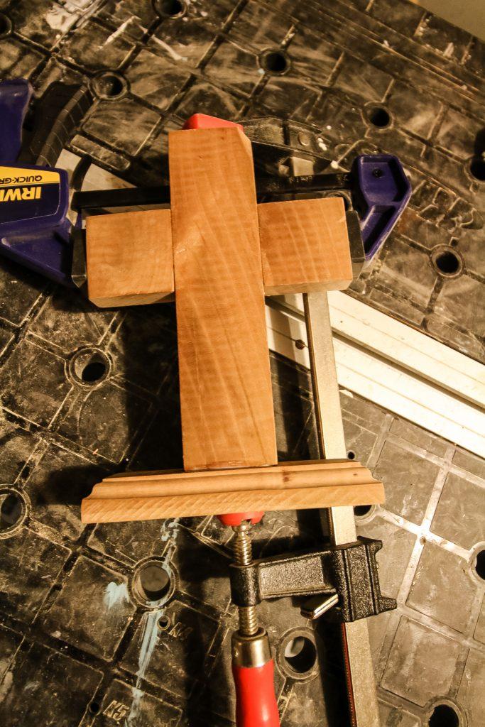 Wooden cross glued up