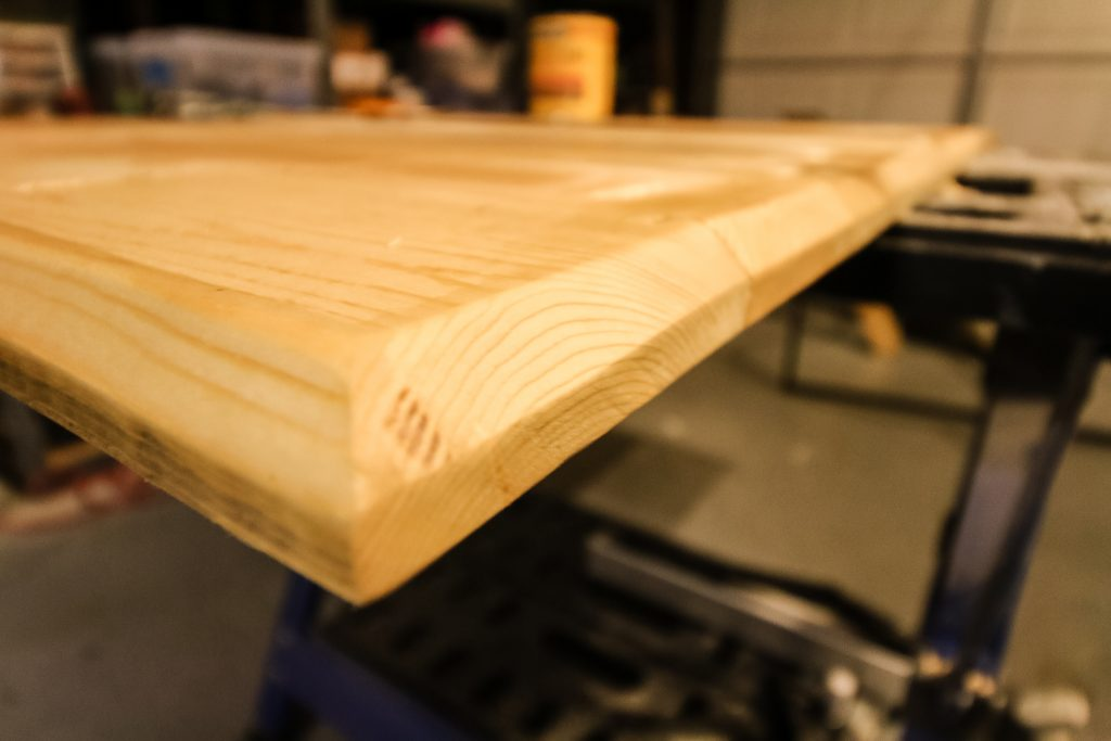 Routered edge of table