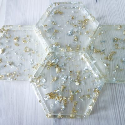 Gold leaf epoxy resin coasters