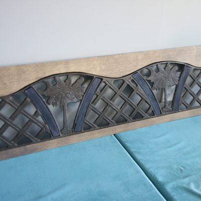 Metal and wood Palmetto wall hanging