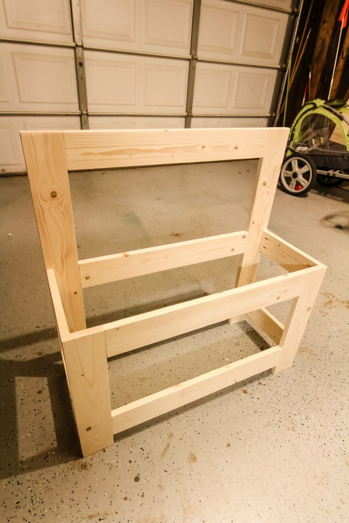 Construction of frame for toddler workbench