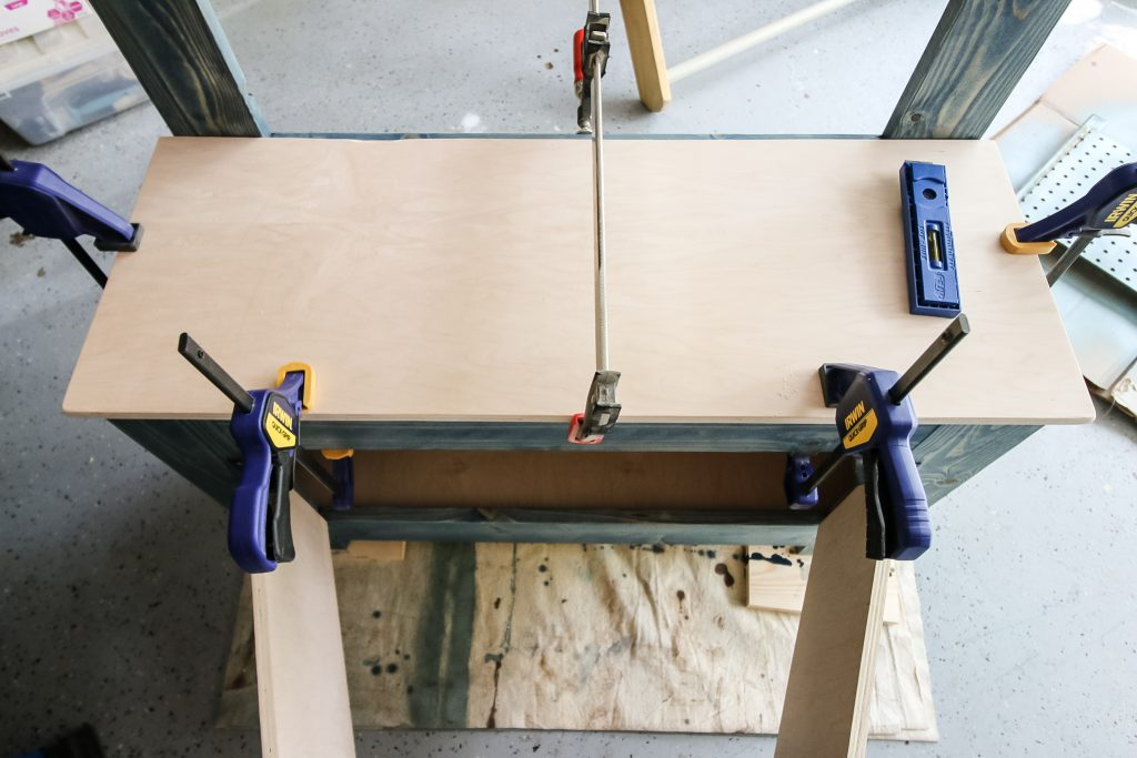 Gluing top to toddler workbench