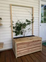 DIY planter bench with trellis and storage – PDF Printable Plans!
