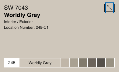 Worldly Gray by Sherwin Williams (SW 7043)