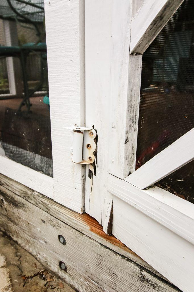 Dry rot on door hinge