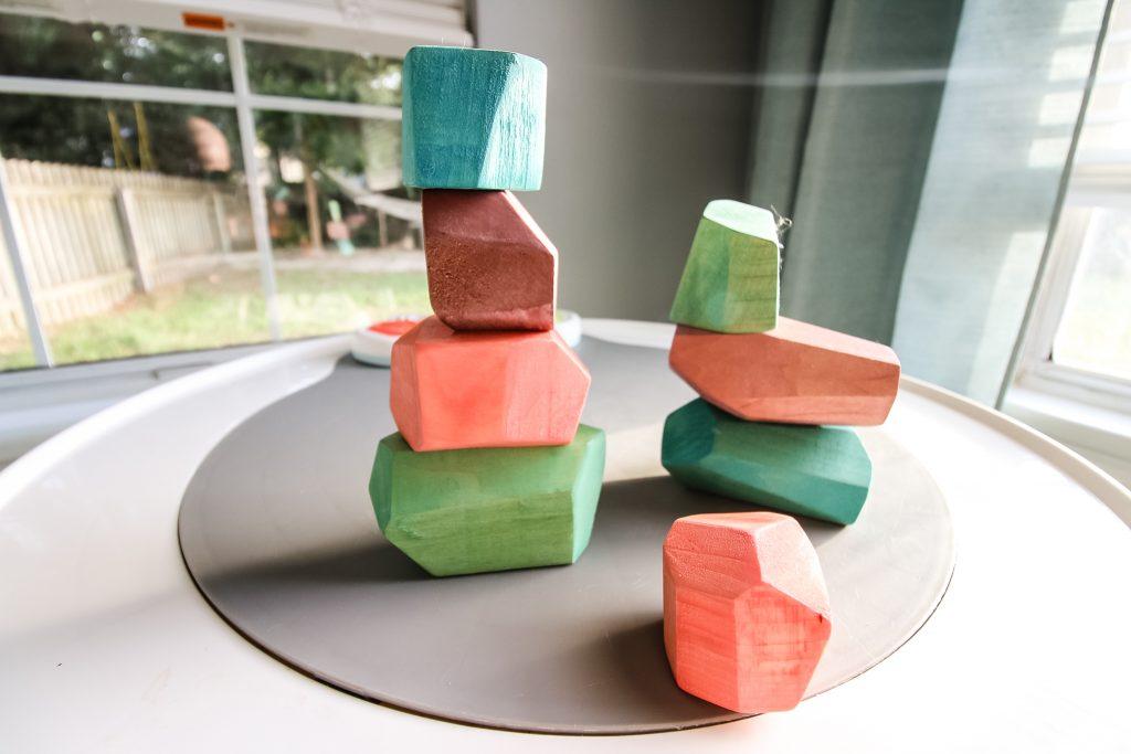 DIY wooden balancing stones stacked up