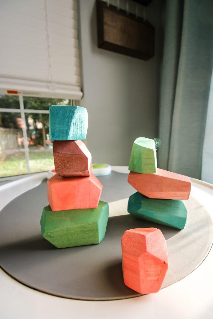 Stacking wooden balancing stones