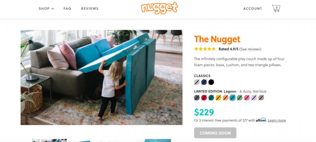Nugget comfort restock sale
