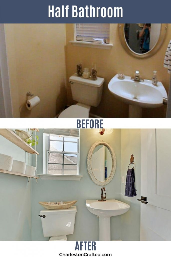 half bathroom before and after