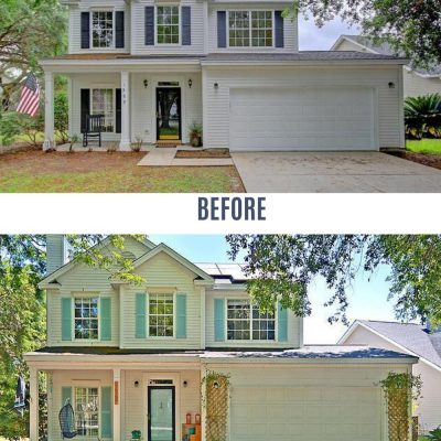 front of house curb appeal before and after