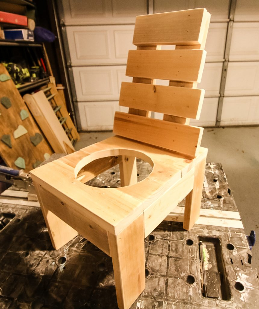 DIY chair planter unfinished