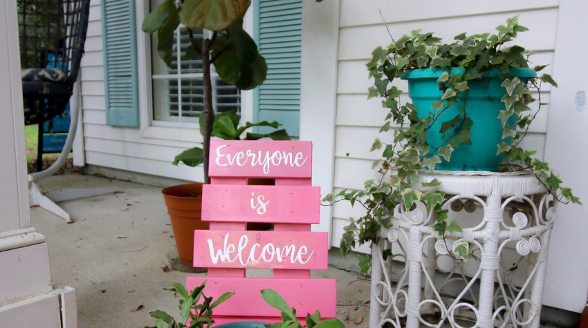 DIY chair planter with a stenciled design