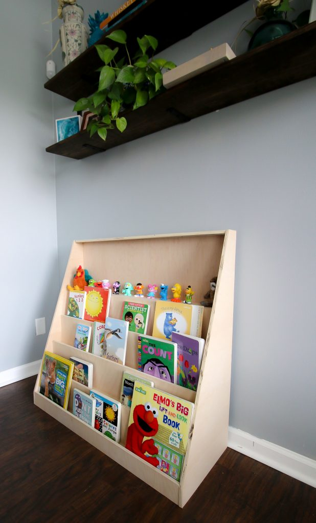 Full view of Montessori front facing bookshelf