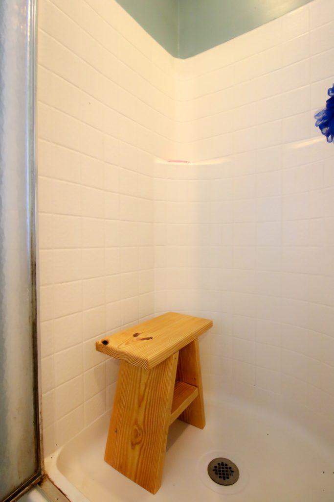 DIY wooden shower stool