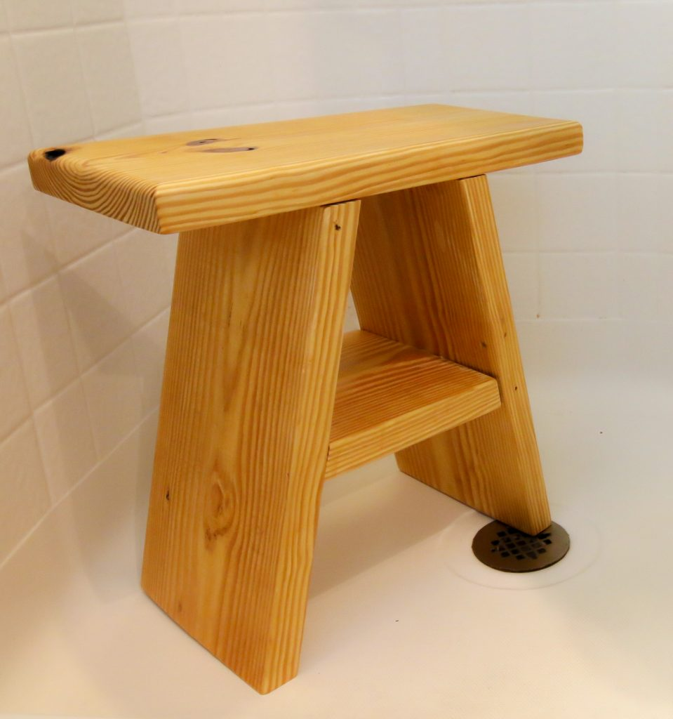 A-frame wooden shower seat