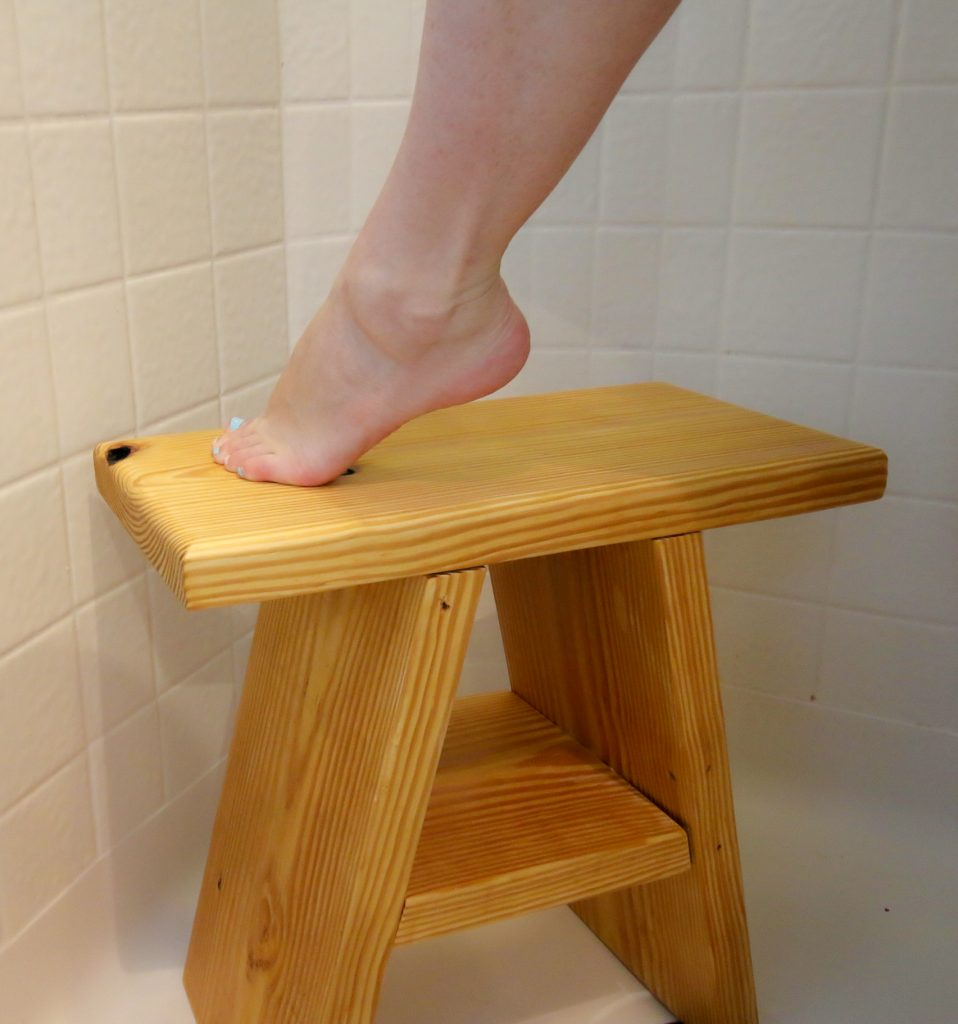 handmade wooden shower seat