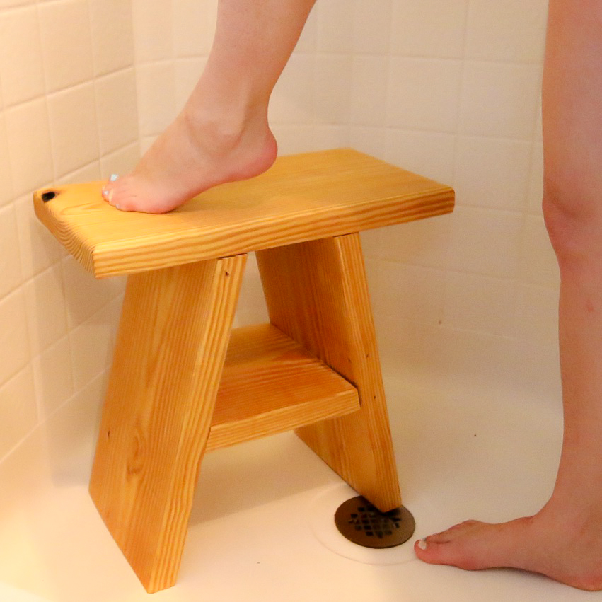 how to make a wooden shower stool