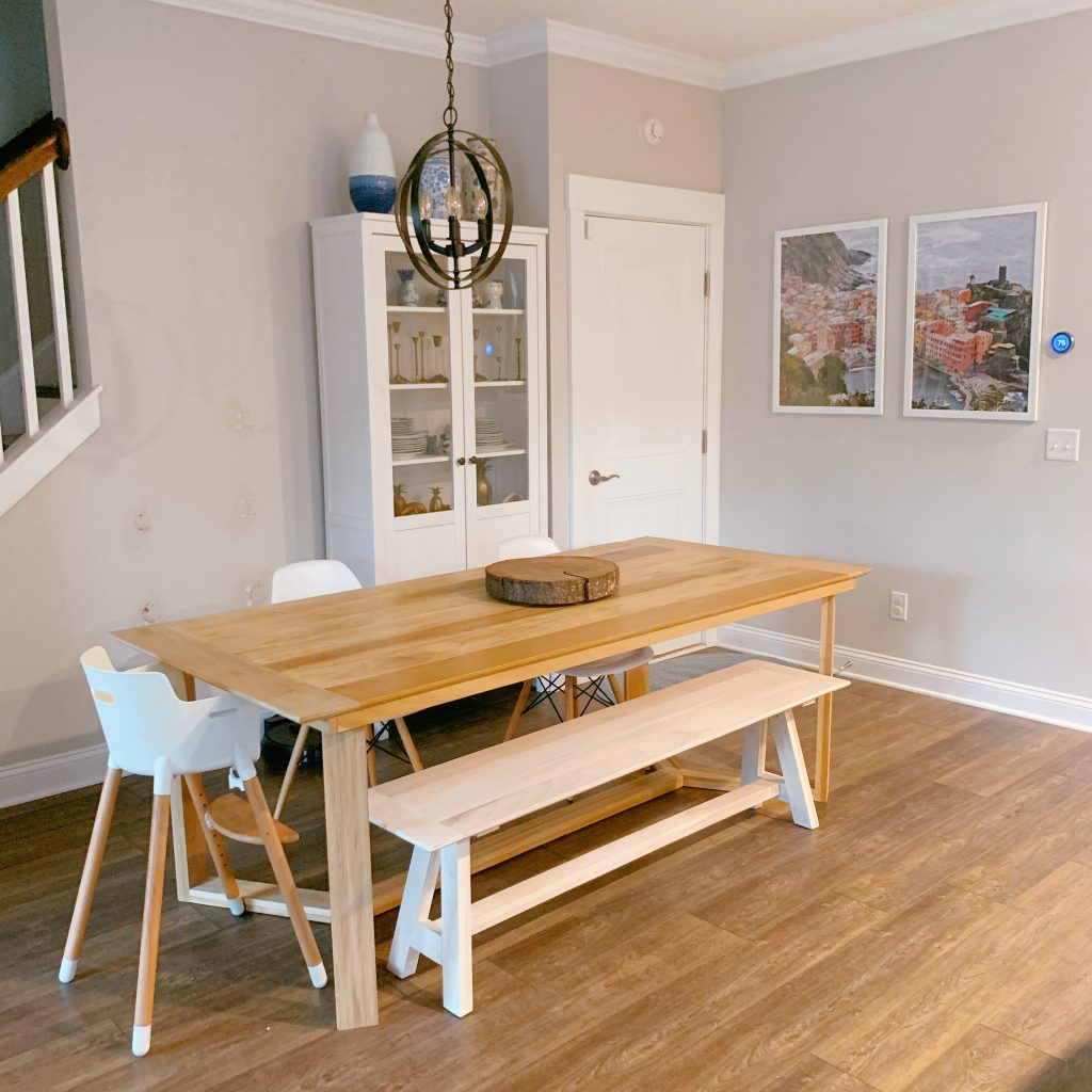 Sherwin Williams Agreeable Gray in a Dining Room