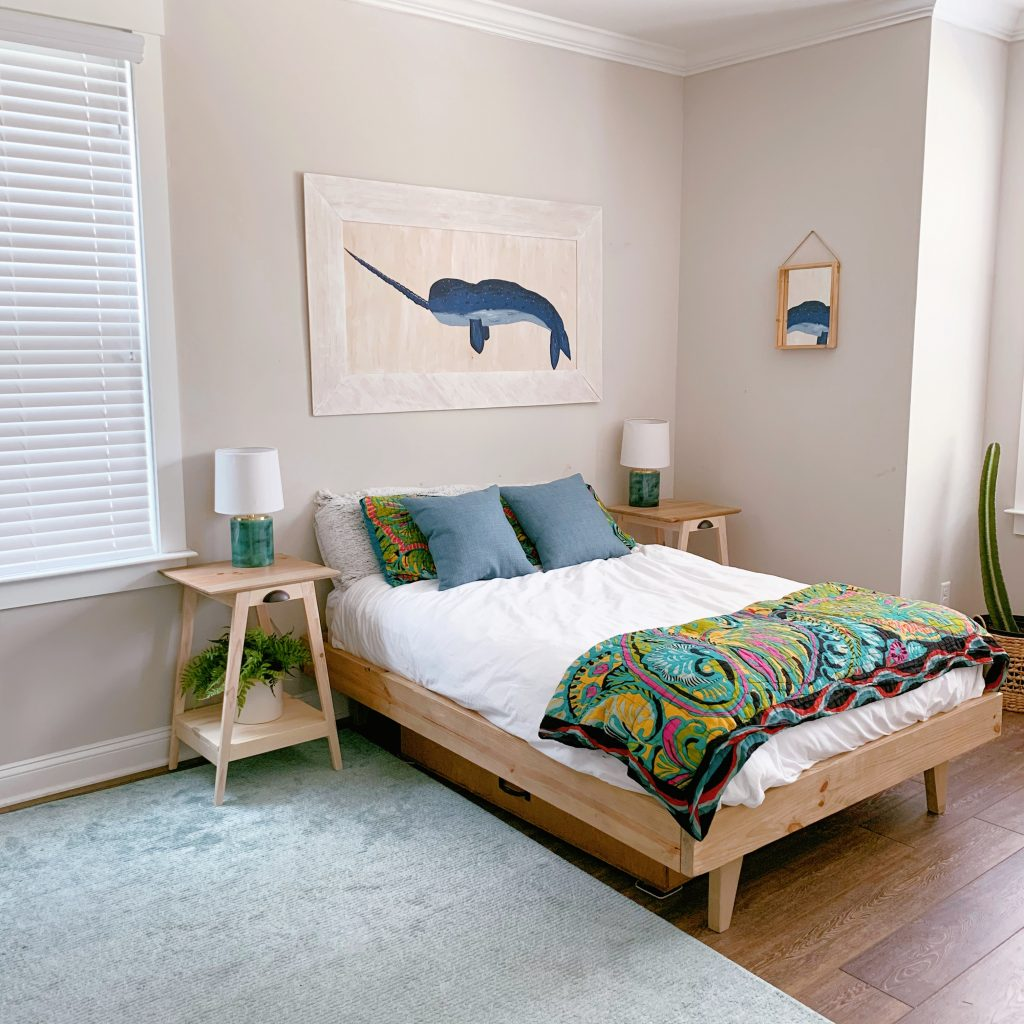 Sherwin Williams Agreeable Gray in a Bedroom