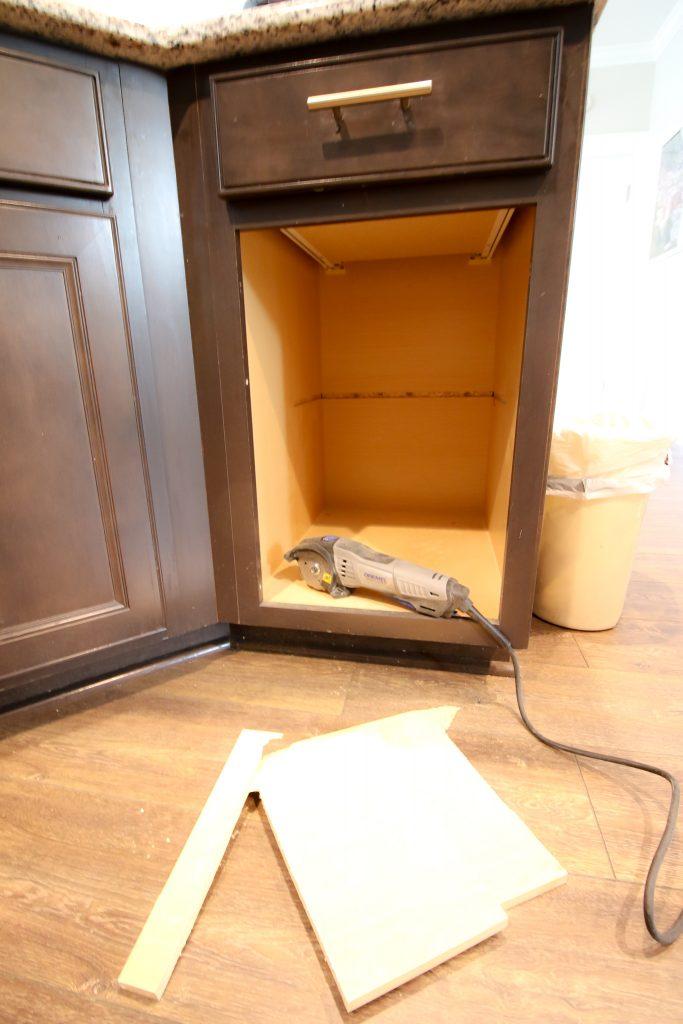 Remove shelf in cabinet