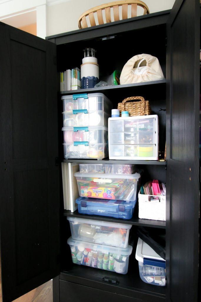 craft supplies inside a storage bin