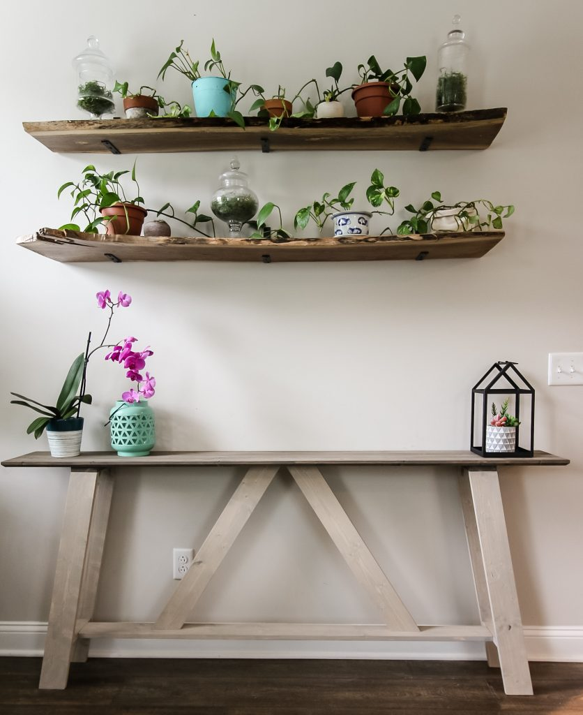 Final full shot of DIY farmhouse style console table