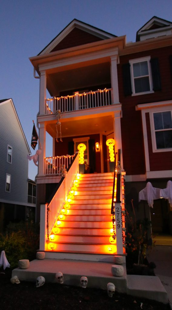 Halloween front porch and steps light up diy decor