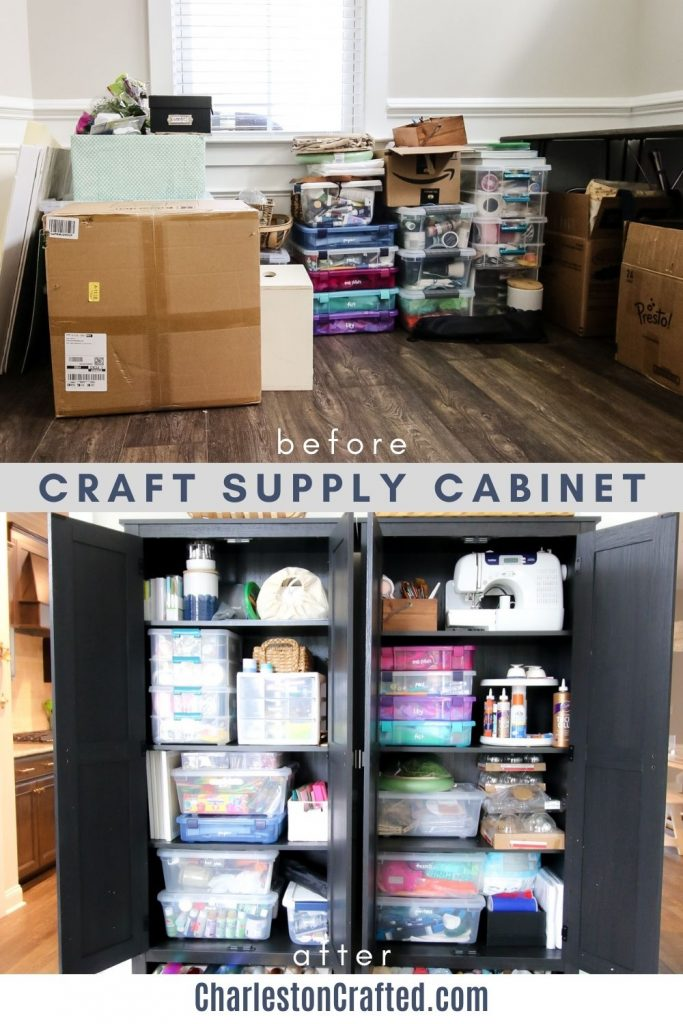 craft supply cabinet before and after