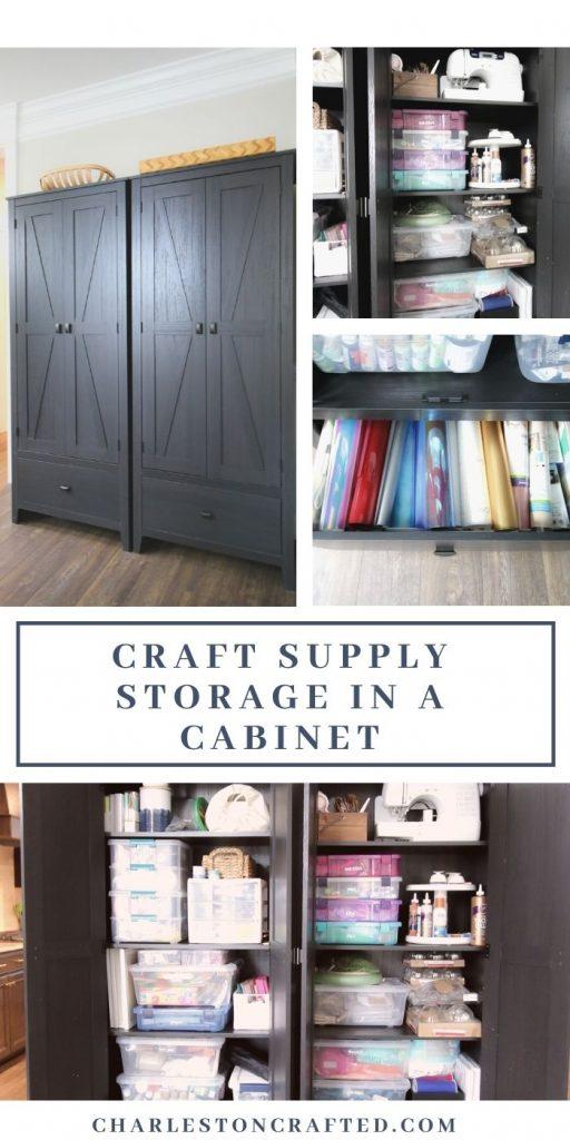 craft supply storage in a cabinet