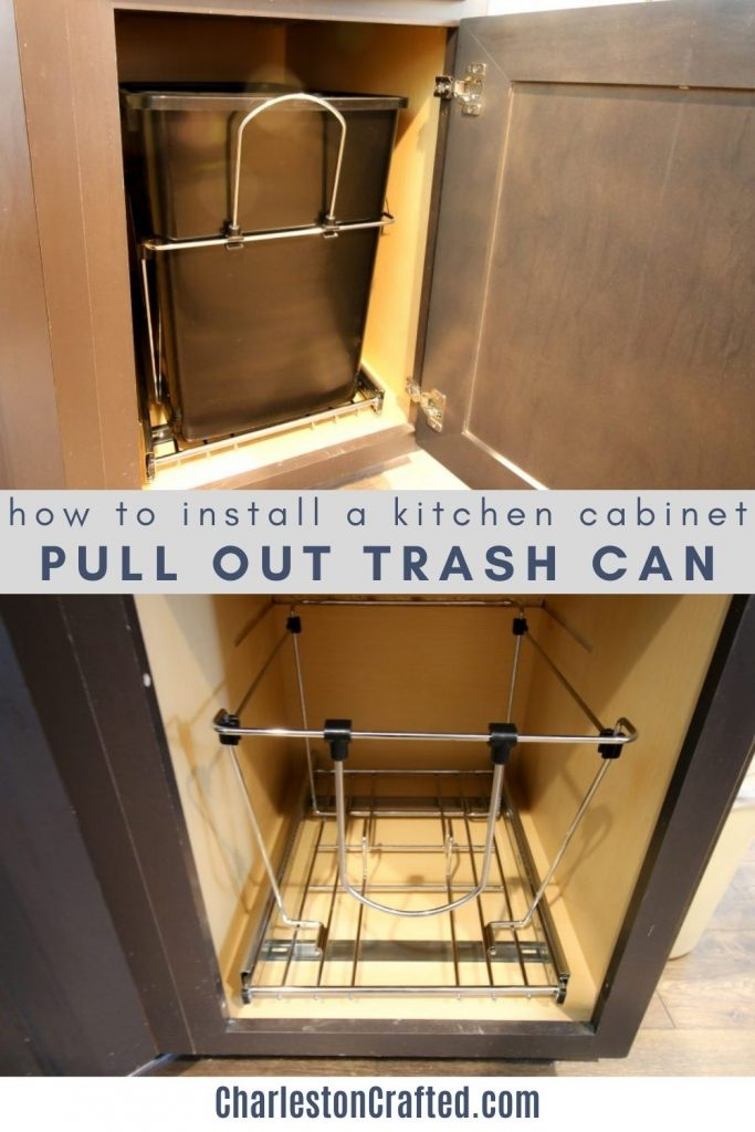 how to install a kitchen cabinet pull out trash can